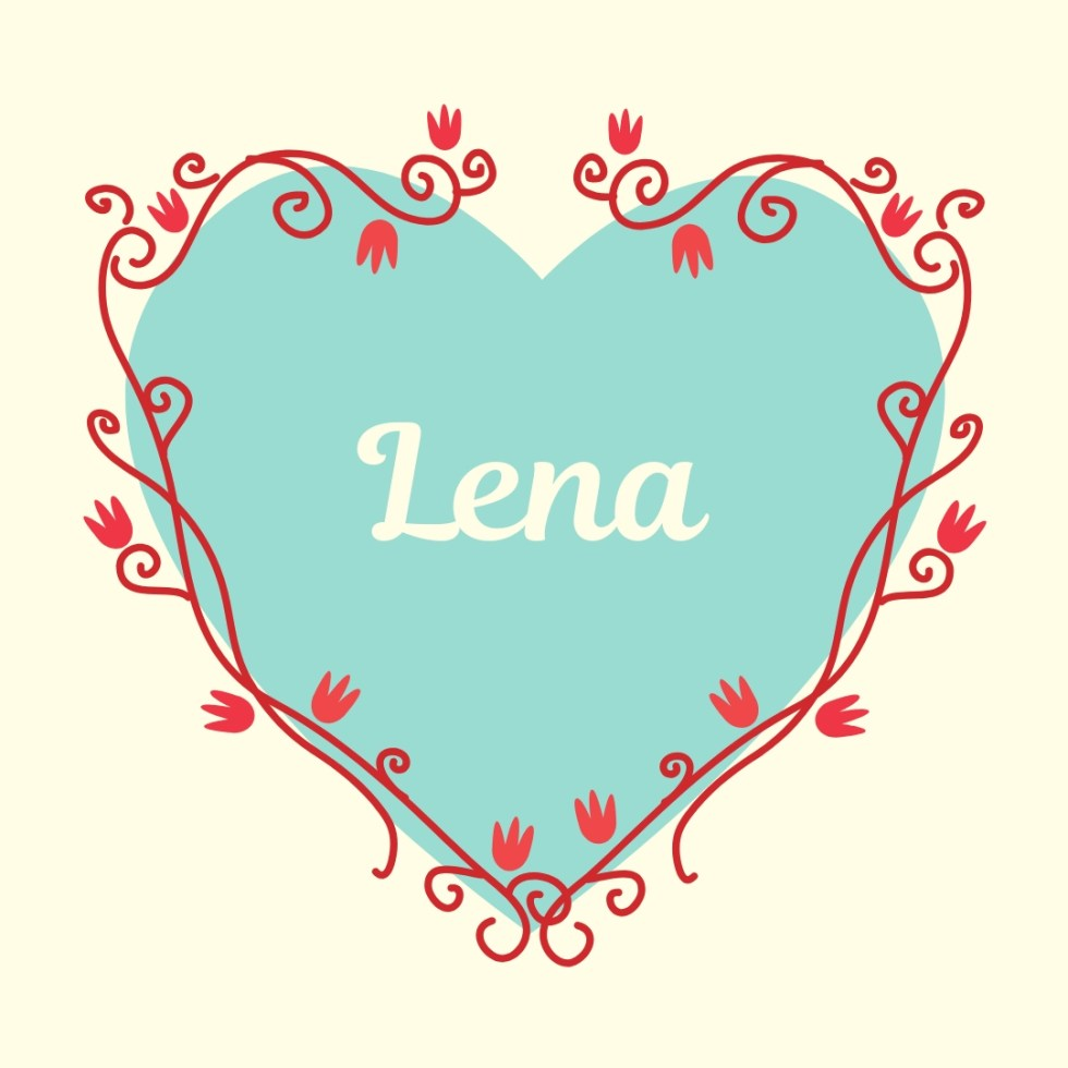 classic name lena on vintage blue heart