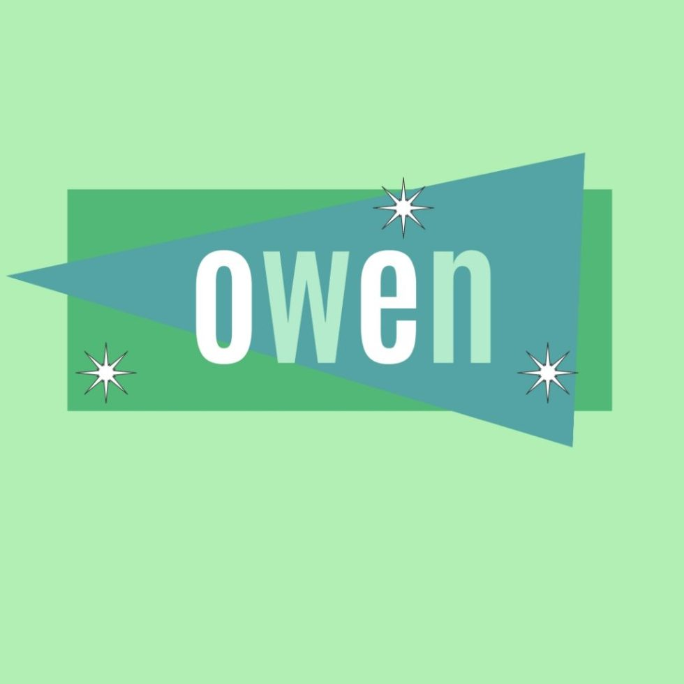 retro male name owen in vintage lettering