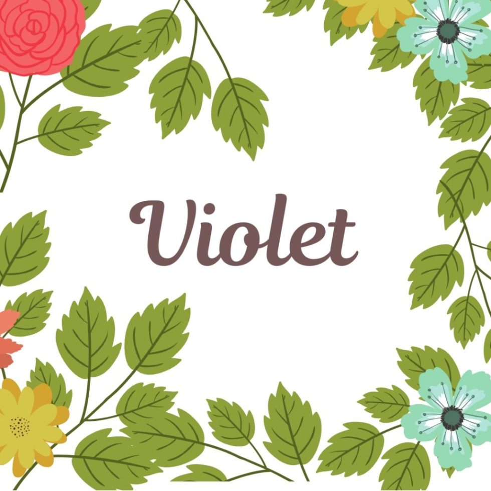old fashioned name Violet in center of vintage floral border