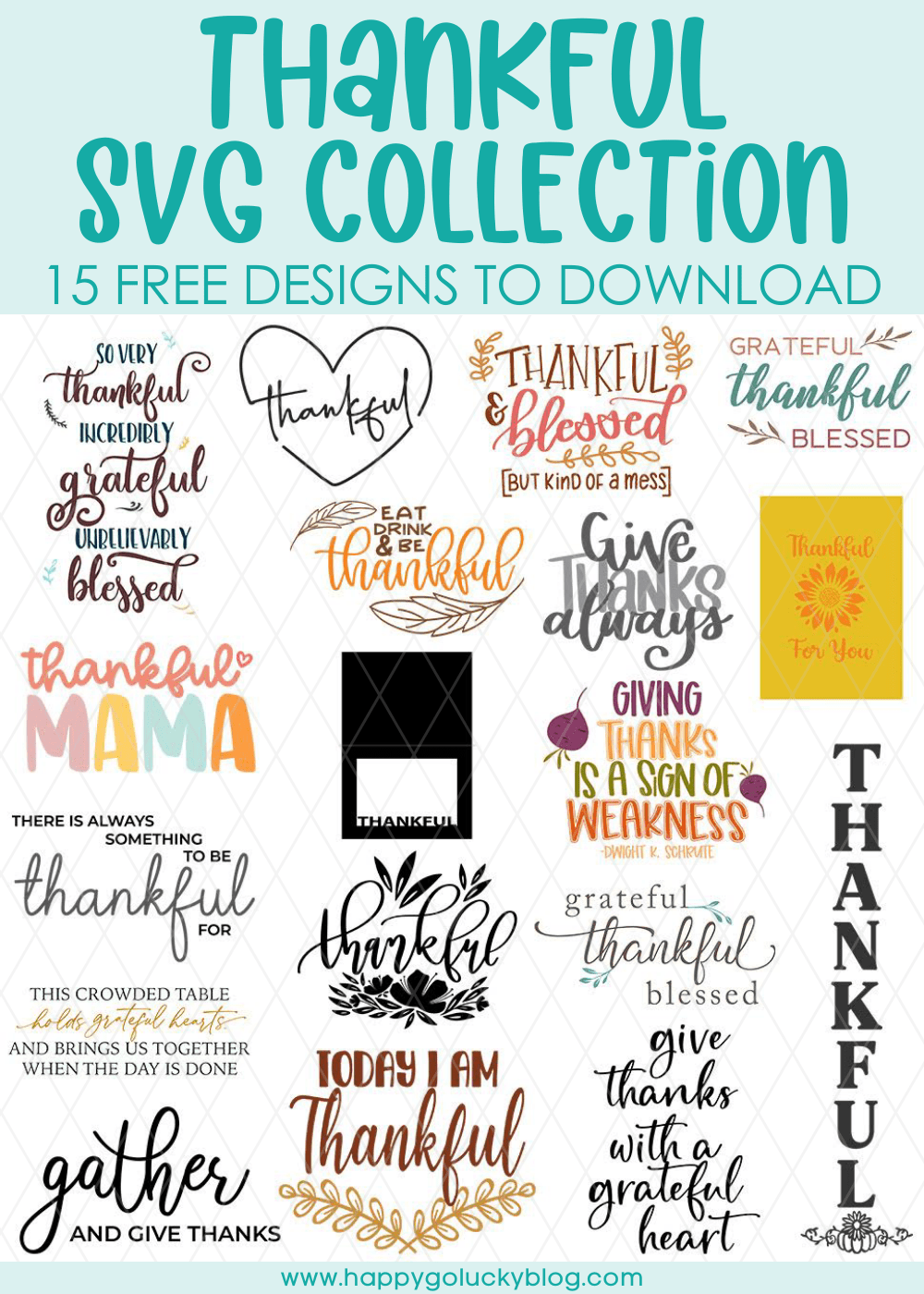 Thankful Svg : thankful, Thankful, Collection, Vertical, Happy-Go-Lucky