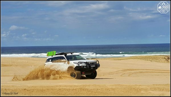 Toyota Fortuner drifting on beach with TRED recovery tracks. Teaching how to 4wd on the beach