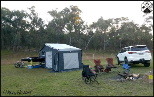 Black Series camper trailer setup at Stanthorpe Sommerville Valley Campground