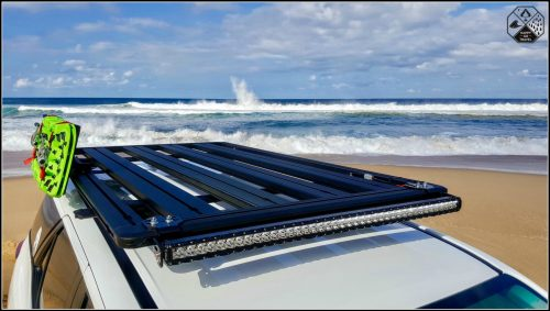 Rola TITAN Tray review | Rola roof rack with TRED recovery boards at beach