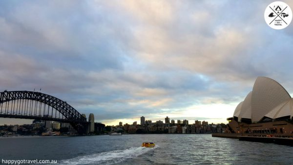 Sydney harbour with both the Sydney harbour bridge and sydney opera house