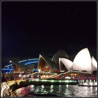 VIVID Sydney looking back at bridge and opera house