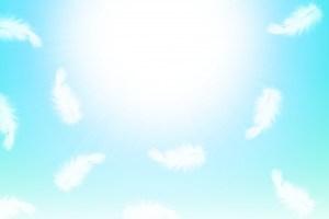 空に舞う天使の羽イラスト