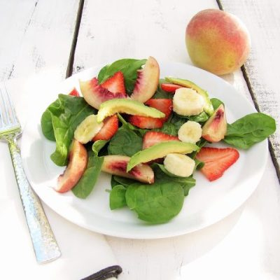 Summer Strawberry, Avocado, Banana and Peach Salad
