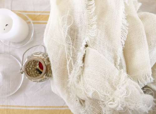 burlap table runner washed