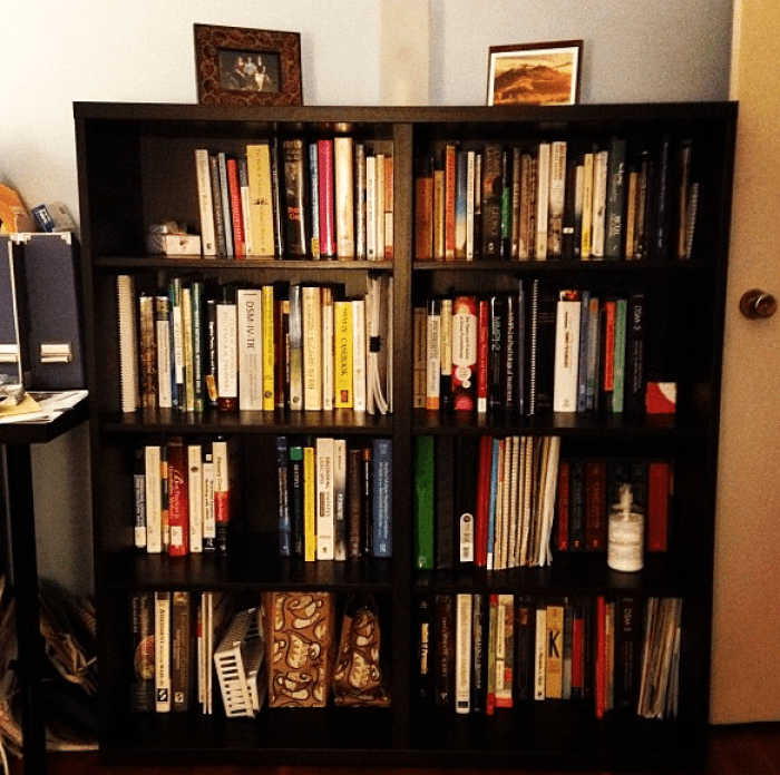 small studio bookshelf before