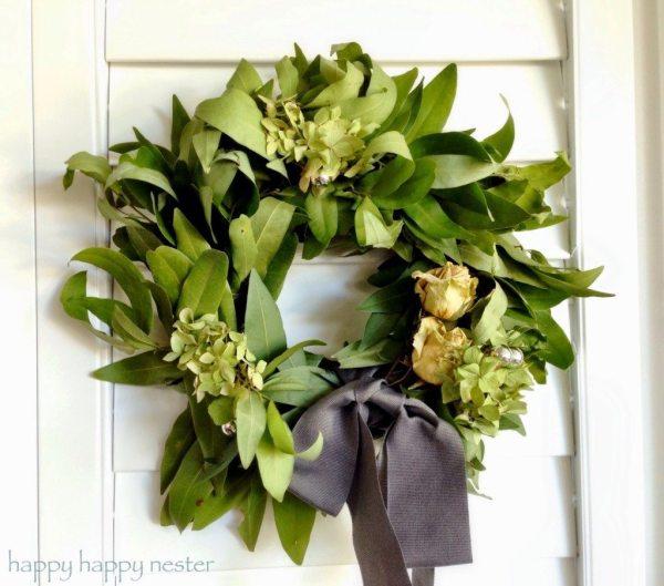 homemade bay leaf wreath