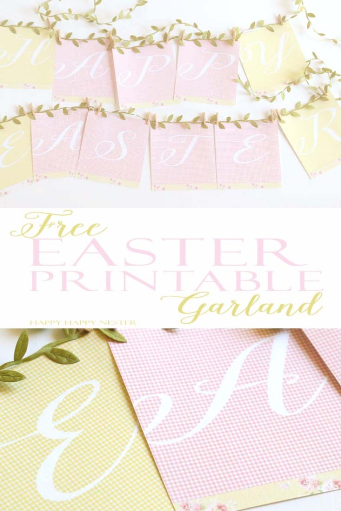 Free Easter Banner Printable Garland is an easy project that you'll love in your home this spring. Use realistic leaf ribbon and clothespin to make it.