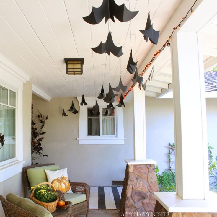 Bats hanging from outdoor porch ceiling