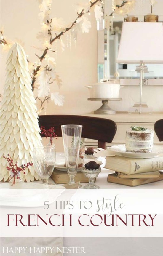 My French Country Farmhouse is a blend of soft creams, old books, and natural elements. My dishes are authentic French plates that just add a classic look.
