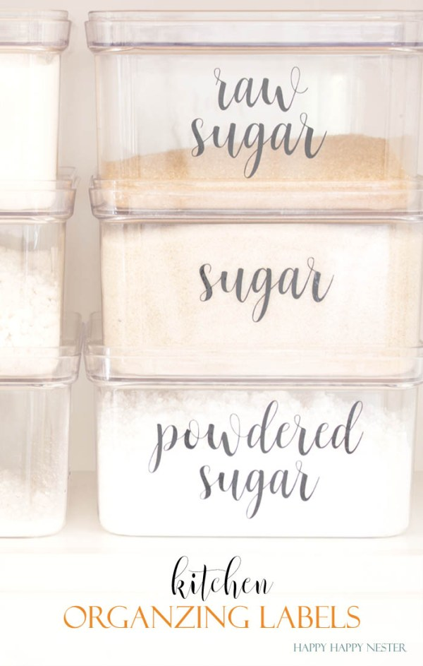 Organizing Kitchen Labels that make any kitchen pantry beautiful. Add them to any container. Easy DIY that anyone can create. Your kitchen will be instantly organized and beautiful. Make sure to try this great labels for all your kitchen containers.