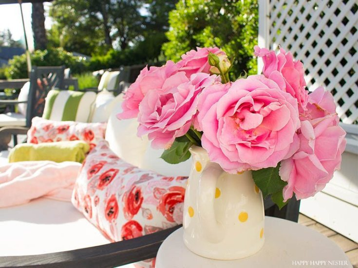 pin roses in a white vases