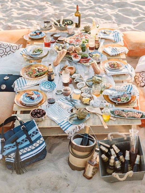 Coastal wedding reception table ideas
