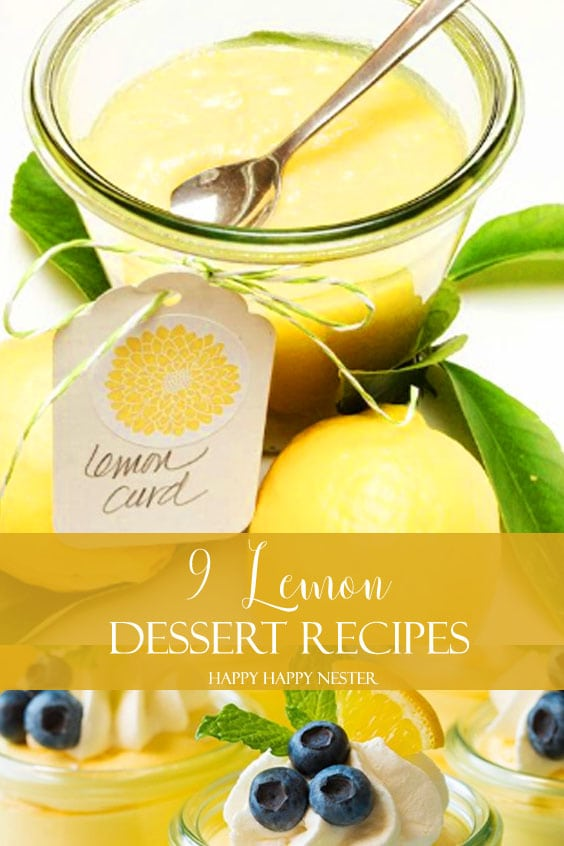 Image of lemon curd in a glass container with a tag that says lemon curd. Also, there is some writing that says, 9 Lemon Dessert Recipes