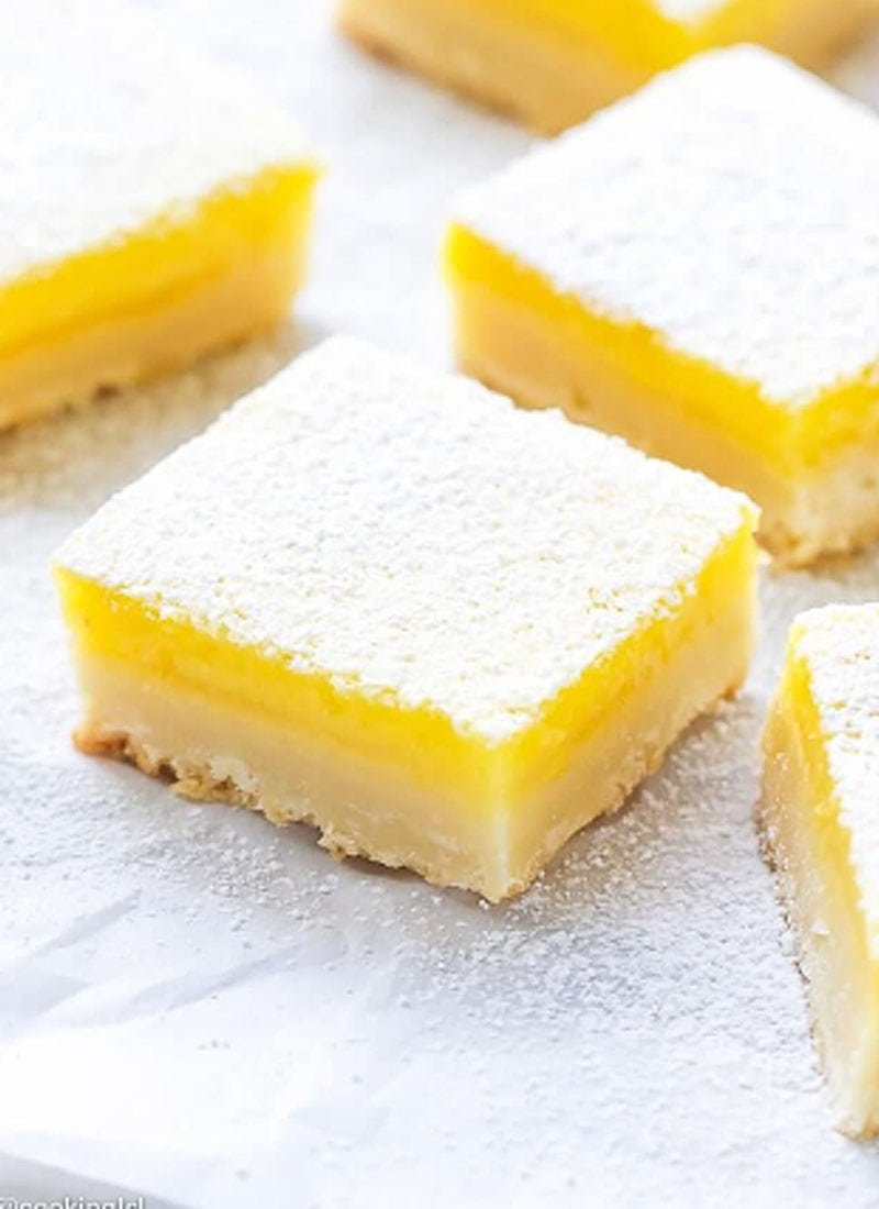 3 lemon bars on white kitchen surface