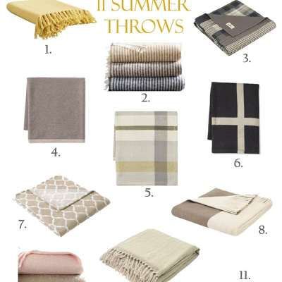 Here is some fun summer decor that is easy and fresh. Celebrate the summer with weather and restyle your home. I have collected some lightweight throws that will warm your guest when dining outdoors in your yard. Make sure to check out a beautiful summer bedroom while you visit this blog post.