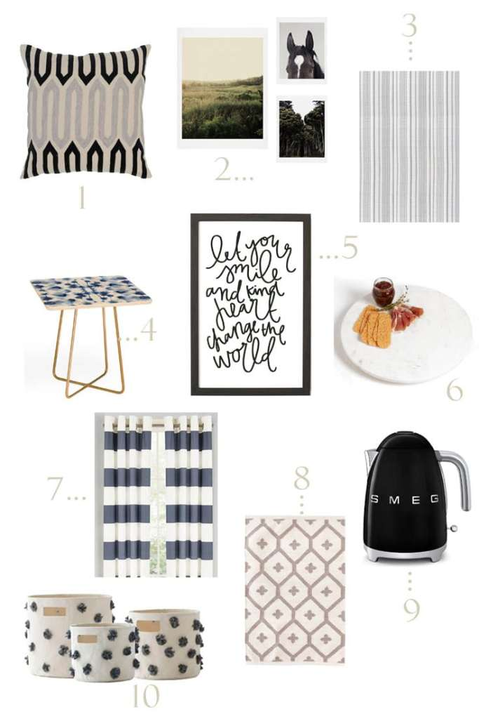 Design board for the Nordstrom Anniversary Sale with black and white decor