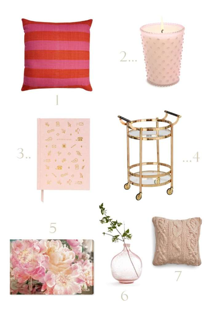 Design board with pink home decor