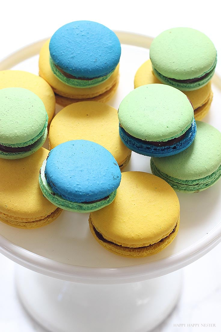 green, blue and yellow macaron cookies
