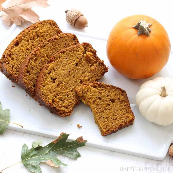 pumpkin recipe roundup with pumpkin bread on a white platter