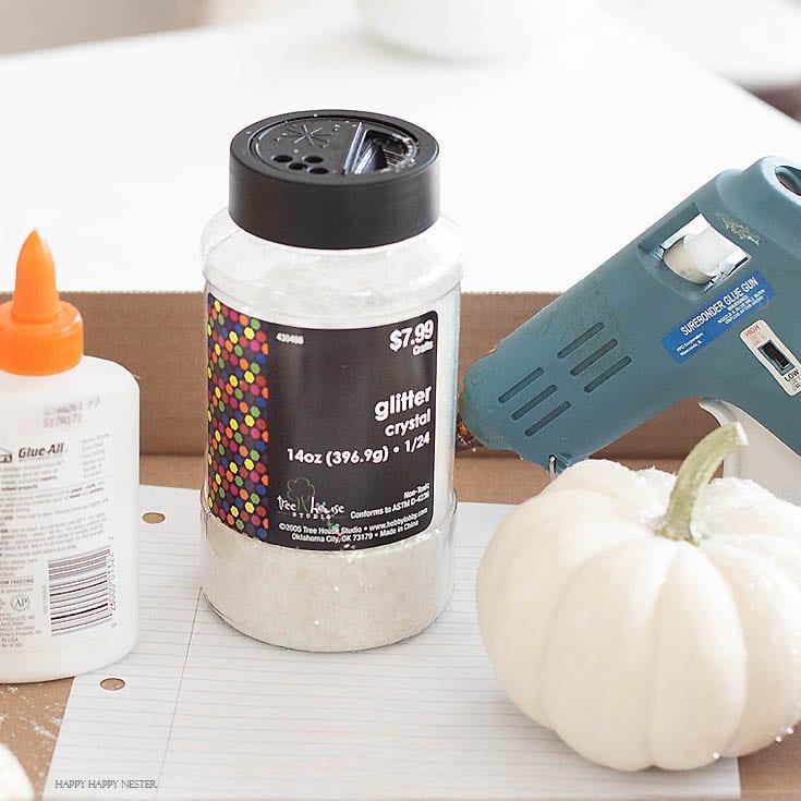 how to make glitter pumpkins supplies