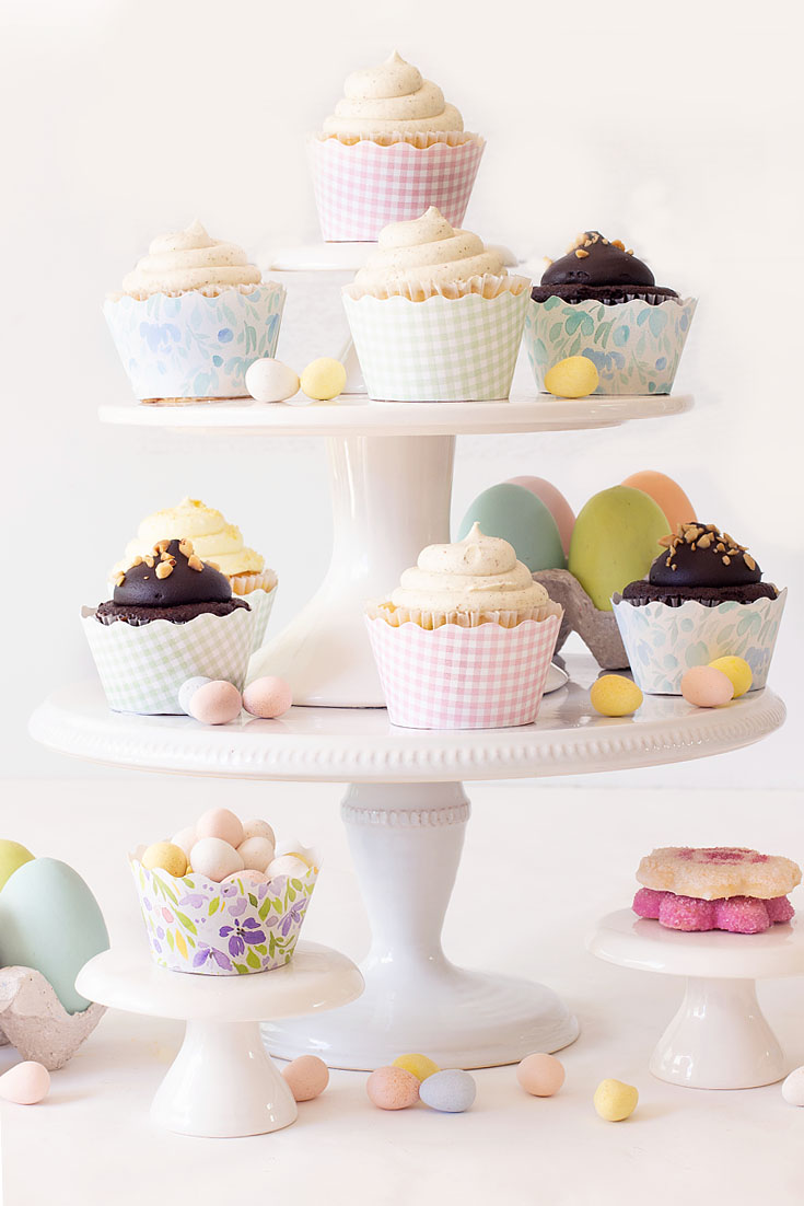 Learn How to Make this Cute Cupcake Stand. This week, our 3 Ingredient challenge is to Decorate with Target Dollar Spot Items! For this project, I came up with a great display for my yummy Easter cupcakes. My cake stands and eggs are so cheap, and I'm so pleased how great they display my desserts for entertaining. #target #targetdollarspot #decorating #easter
