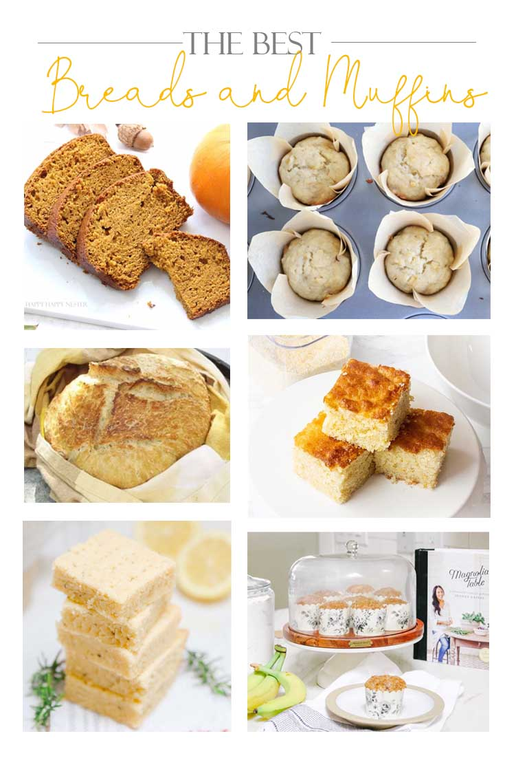 These are the 7 Best Muffin and Bread Recipes among my blogger friends. We round up all our favorite family recipes which are tried and tested. From the best cornbread, easy no-knead bread to banana muffins, you'll for sure find some great recipes. #baking #muffins #breads #quickbreads #recipes #cornbread #bestbreads
