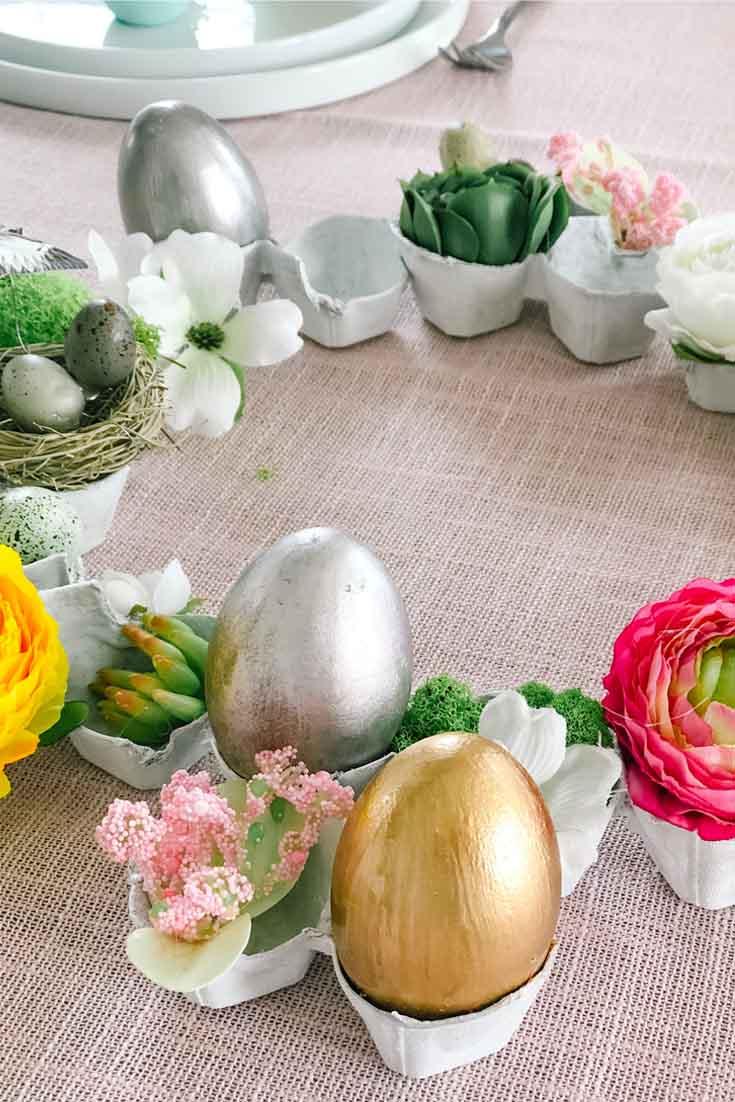 DIY Gilded Easter Eggs Carton Wreath.
