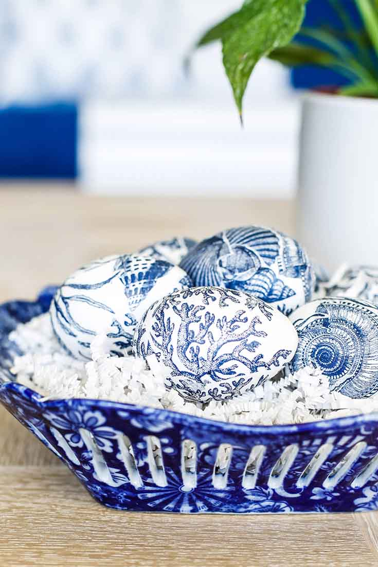 Blue and white Easter egg decoupage decorating idea.