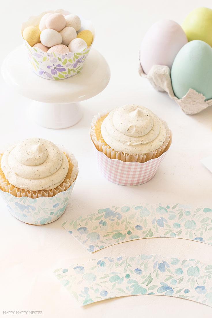 pretty floral cupcake paper liner