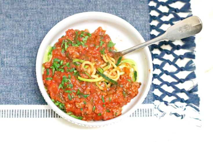 Whole 30 Zoodles with Bolognese Sauce. Tried and True Favorite Dinner Recipes are always the best. You know that these dishes will be tasty since they are family favorites. All these recipes are comfort food that we love. They are absolutely our best recipes. #comfortfood #recipes #dinnerrecipes #dinner #cooking