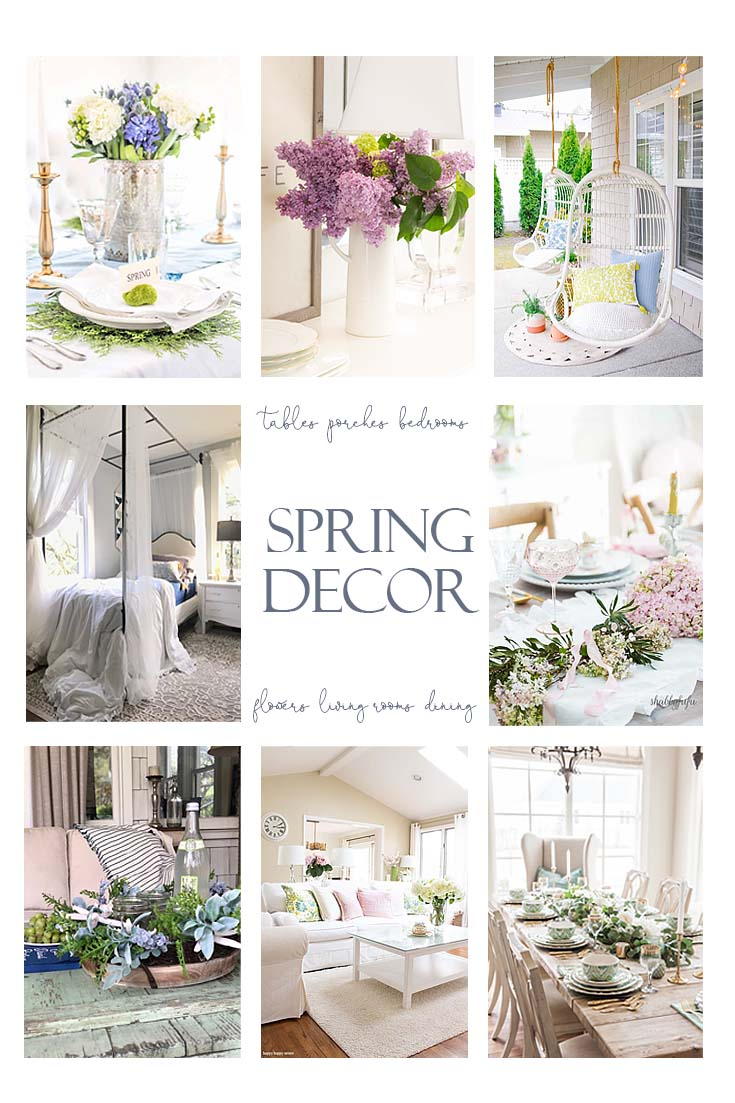 Do you need some Fresh Spring Decorating Ideas for your home? Look no further since I rounded up some of my favorite spring inspirations. I'm sharing spring tables, flowers, outdoor porches, and spring bedrooms. #springdecor #springdecorating #springtables #springbedrooms #springtables #springflowers #springdecor