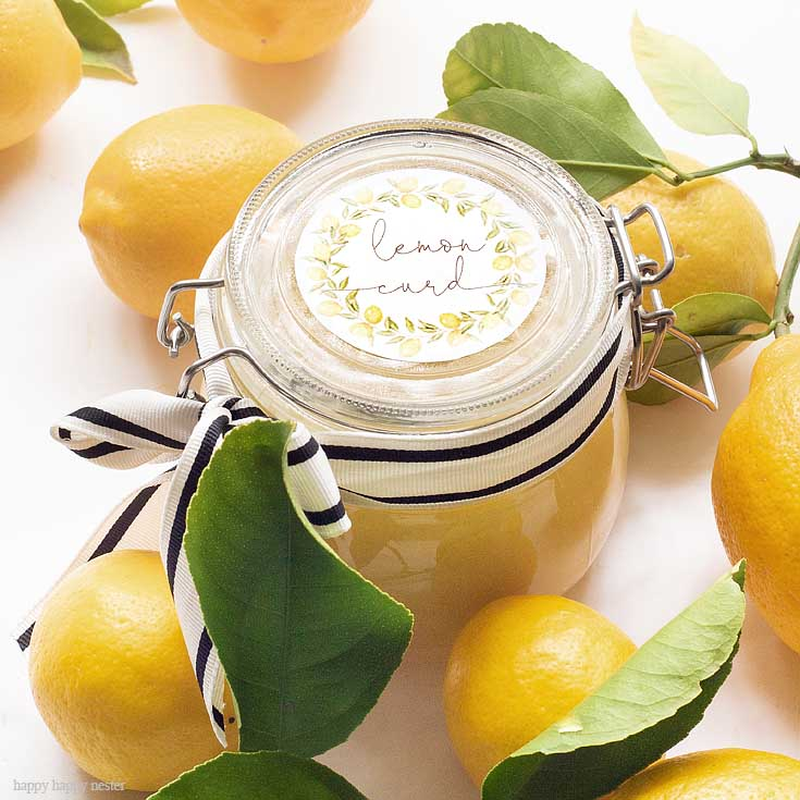 If you have a bunch of lemons, make sure to try this lemon curd recipe. There is nothing better than fresh Homemade Lemon Curd with Printable Labels. Make this lemon curd and give it to friends and family as gifts. Add this cute printable and a pretty jar, and it is the perfect gift. #lemoncurd #baking #englishlemoncurd #printable #labels #freelabels #lemoncurdlabel #lemondessert #recipe