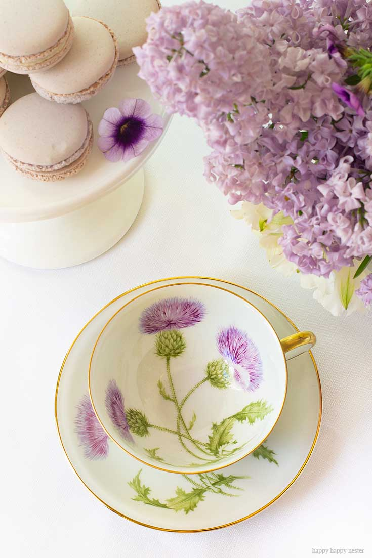 Take inventory of all your decor to create this spring table. It doesn't take much to create a Beautiful Spring Table with Fresh Flowers. This spring table with fresh lilacs and other garden flowers is so easy to create. No need to spend much to style a fabulous spring table. #springtable #flowerbouquet #freshflowers #lilacs #lavendertable #decoratingwithlilacs #purplelilacs