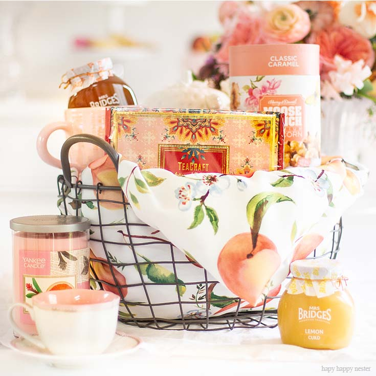 Need some Gift Basket Ideas for Mother's Day? Or for that matter any friend who loves tea parties? Well, this post teaches all the things to consider when putting together a great gift basket from the container to the perfect items from HomeGoods! #giftbasketideas #giftbaskets #gifts #HomeGoods #shopbaskets #teabasket