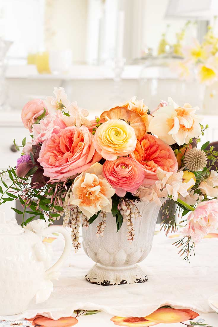 Add a vase of gorgeous flowers to dress up a table for tea. Need some Gift Basket Ideas for Mother's Day? Or for that matter any friend who loves tea parties? Well, this post teaches all the things to consider when putting together a great gift basket from the container to the perfect items from HomeGoods! #giftbasketideas #giftbaskets #gifts #HomeGoods #shopbaskets #teabasket