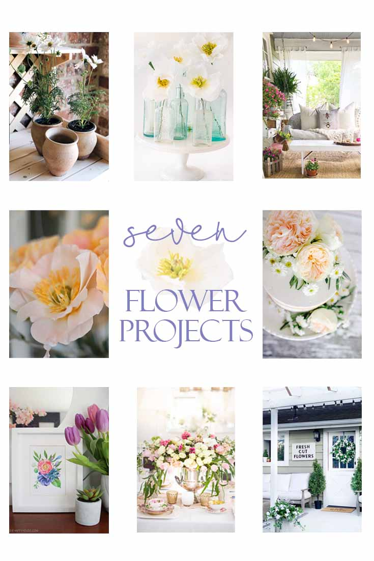 Check out this post of 7 Wonderful Flower Project Ideas. Make some paper flowers, decorate a cake with flowers, these are just a few ideas. #flowers #crafts