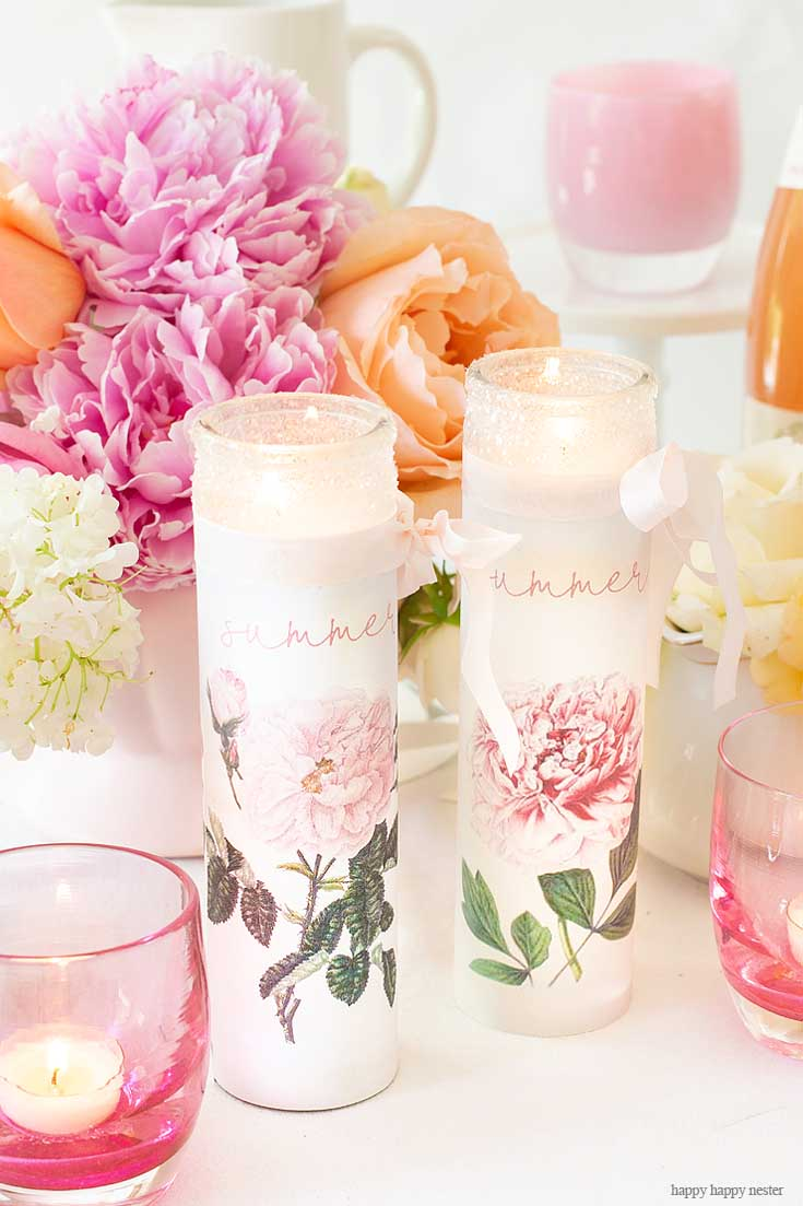 Get Ready for Summer and Learn How to Make Your Own Personalized Candles with a supplies and a couple of minutes. This easy candle craft makes the prettiest summer candles! #crafts #candles #diy