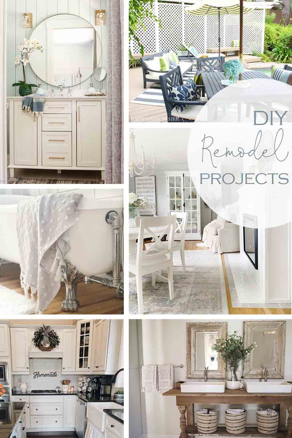 Do you need some Home Renovations Ideas on a Budget? Here are six real home remodels showing the before and after photos. The projects include a few bathrooms, fireplace, pool deck, and kitchen. #renovations #DIY #homeprojects