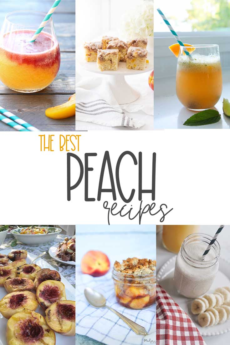 I have rounded up the Best Summer Peach Recipes from my blog and also my friend's blogs. If you have a few peaches you need to try these delicious recipes. #peaches #recipes #peachrecipes