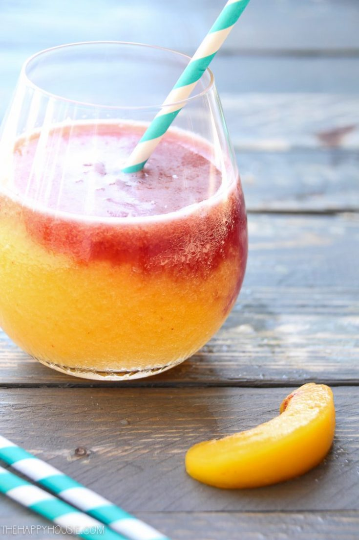 This strawberry white wine slushie is the best summer cocktail. #drinks #cocktails #fruitslushie #slushierecipe