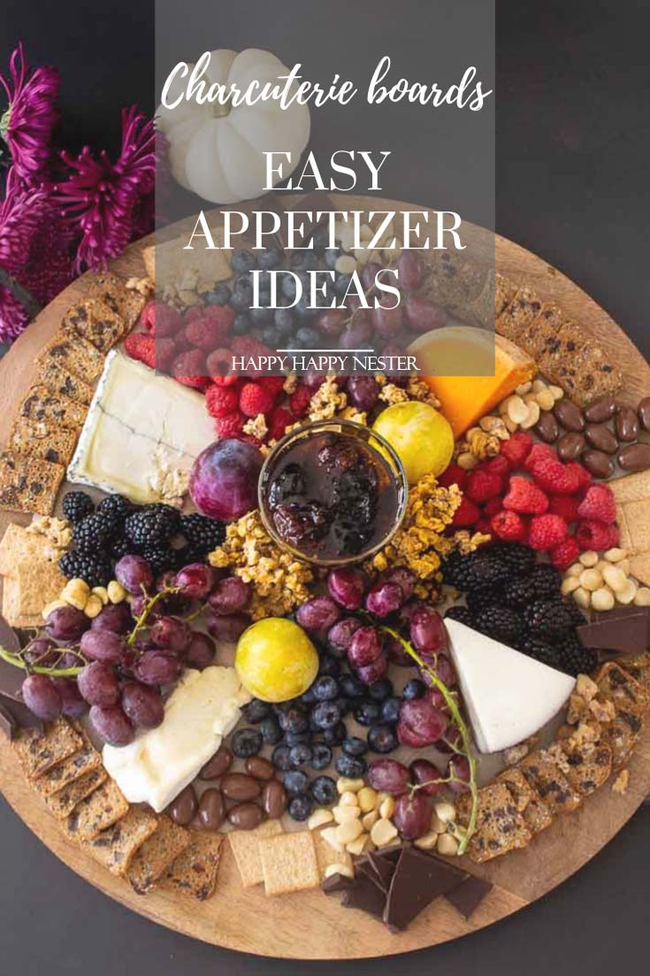 Need some Easy Appetizer Ideas for a Party, then you'll want to view this step by step tutorial. It shows how to build a fruit, cheese charcuterie board. These amazing boards with delicious gourmet foods will impress your guests! #appetizers #easyappetizers #charcuterieboard