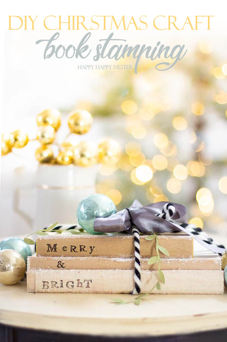 If you are looking for a Christmas Craft, then check out these cute stamped books. Gather some old books and alphabet stamps and make these easy project. #crafts #holidaycrafts #christmascrafts #christmas #stamping