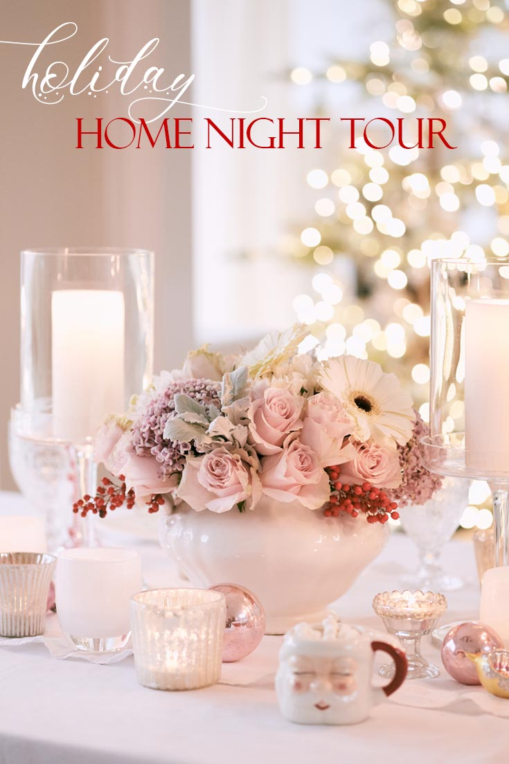 Do you need some Holiday Home decor ideas? This pretty Christmas night tour is packed with ideas for your Christmas dining room to outdoor entertaining. #christmasdecor #decoratingfortheholidays #holidaydecor