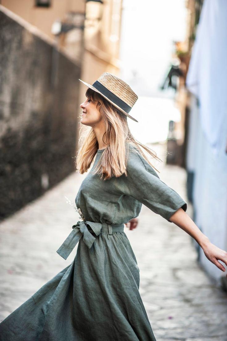 European linen dress and shop