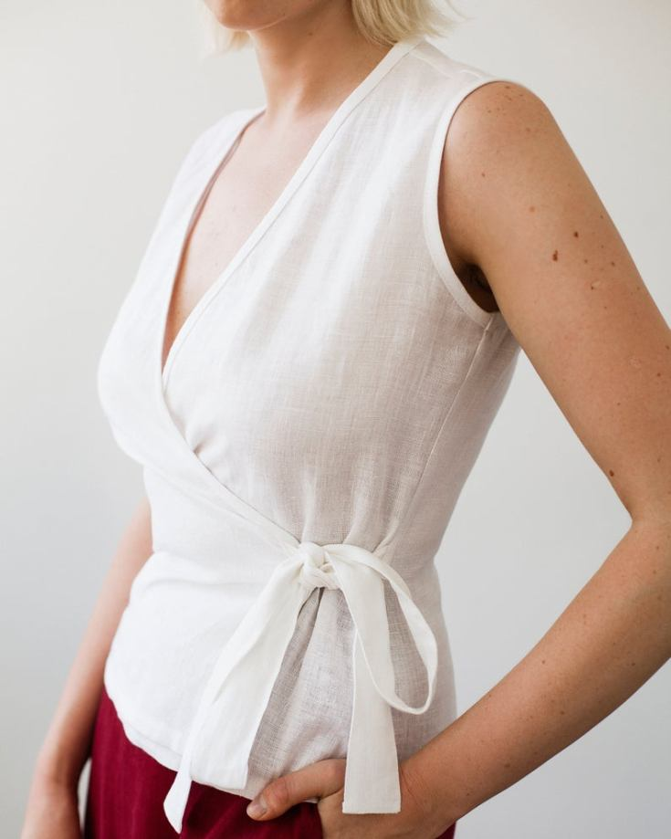white linen sleeveless top