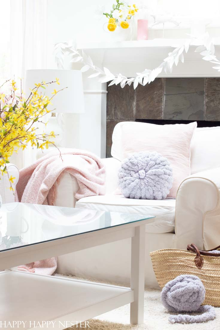 spring decorating with pillows.